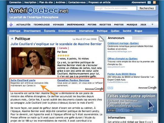 Julie Couillard dans Google Adsense