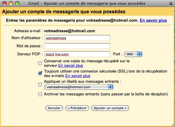 Infos à mettre pour transférer vos emails d'Hotmail vers Gmail