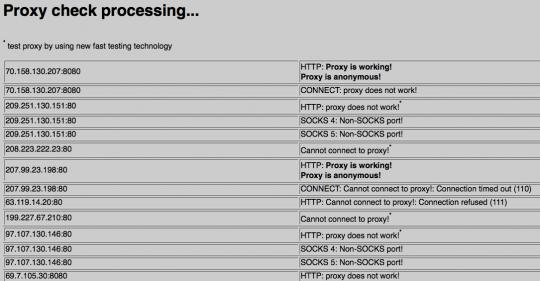 Page de résultats de Online Proxy Checker