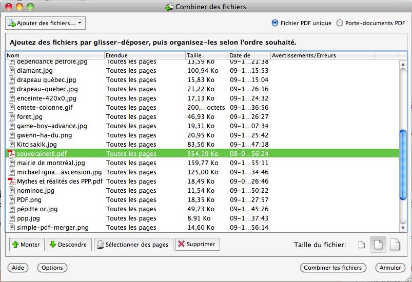 Combiner des fichiers avec Adobe Acrobat Pro