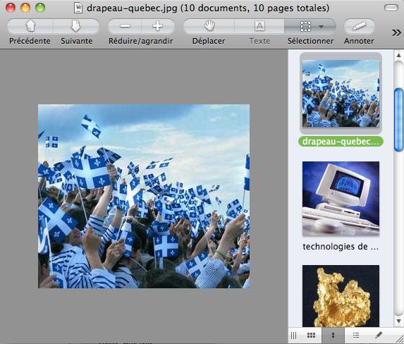 Le logiciel Aperçu (Preview) de Mac OS X