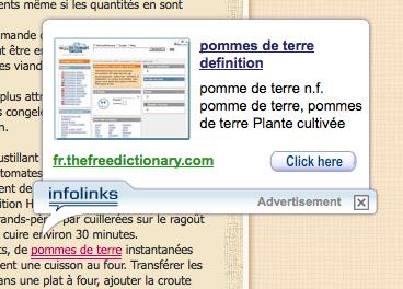 Les publicités élégantes d'Infolinks