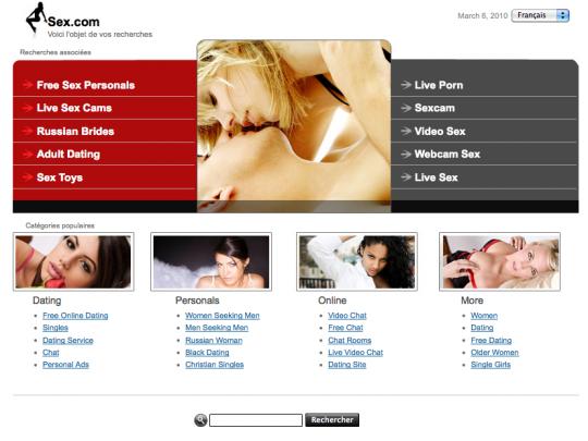 Sex.com tel qu'on le retrouvait le 6 mars 2010