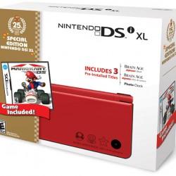 La DSi rouge avec le jeu de Mario Kart DS
