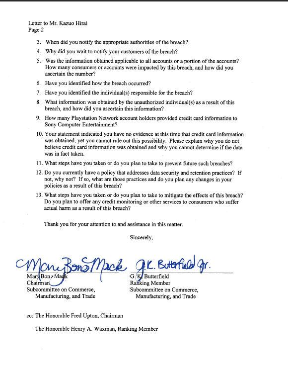 Lettre du congrès américain à Sony
