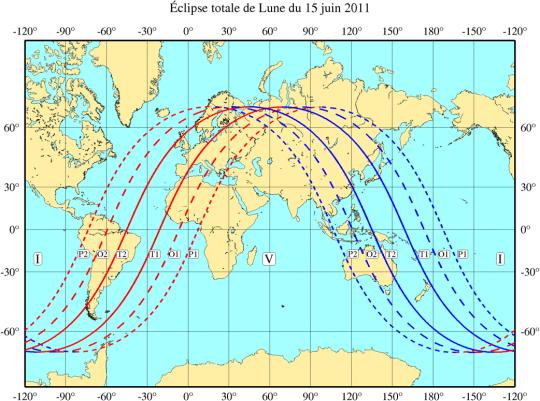 Champs de visibilité de l'éclipse lunaire du 15 juin 2011