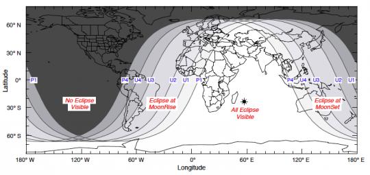 La visibilité de l'éclipse de lune du 15 juin 2011 dans le monde