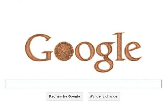 Un cent canadien - Google doodle