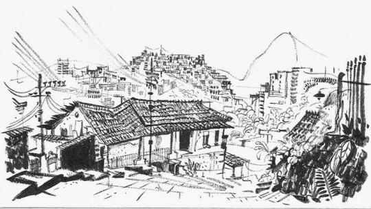 Esquisse des favelas à Rio